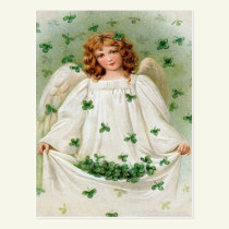 Vintage Shamrock Angel St Patrick's Day Card
