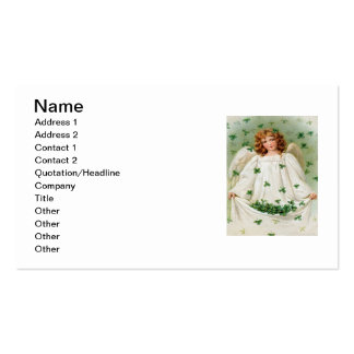 Vintage Shamrock Angel St Patrick's Day Card Double-Sided Standard Business Cards (Pack Of 100)