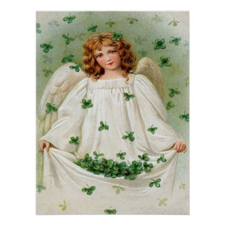 Vintage Shamrock Angel St Patrick's Day Card Poster