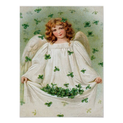 Vintage Shamrock Angel St Patrick's Day Card Posters