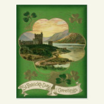 Vintage Shamrock Castle St Patrick's Day Card