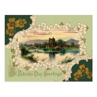 Vintage Shamrock Castle St Patrick's Day Card