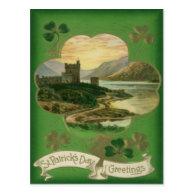 Vintage Shamrock Castle St Patrick's Day Card Post Card