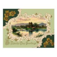 Vintage Shamrock Castle St Patrick's Day Card Postcards