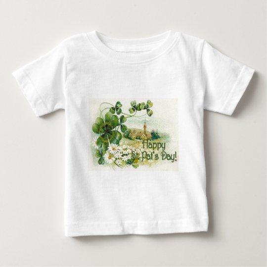 Vintage Shamrock Church Village St Patrick's Day C Baby T-Shirt