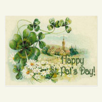Vintage Shamrock Church Village St Patrick's Day C Postcard