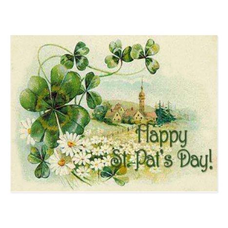 Vintage Shamrock Church Village St Patrick's Day C Postcard