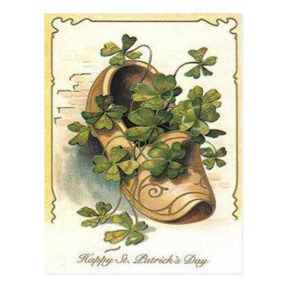 Vintage Shamrock Clog St Patrick's Day Card Postcard