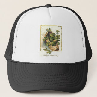 Vintage Shamrock Clog St Patrick's Day Card Trucker Hat