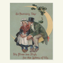 Vintage Shamrock Couple On Moon St Patrick's Day Postcard