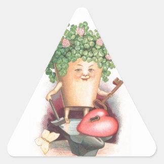 Vintage Shamrock Heart and Key St Patrick's Day Triangle Sticker