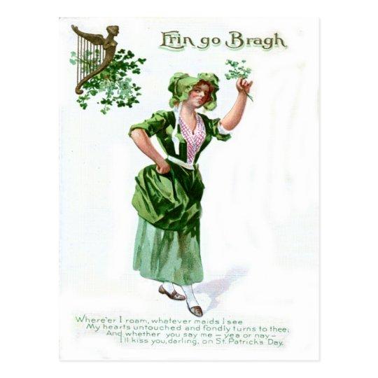 Vintage Shamrock Maiden St Patrick's Day Card