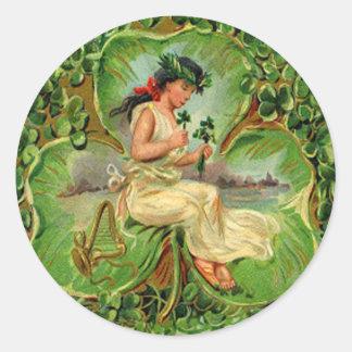 Vintage Shamrock Maiden St Patrick's Day Card Classic Round Sticker