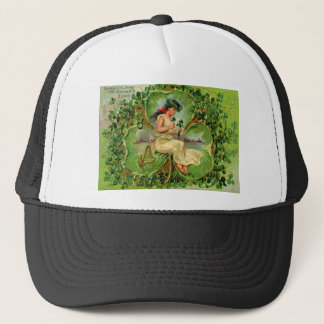 Vintage Shamrock Maiden St Patrick's Day Card Trucker Hat