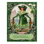 Vintage Shamrock Pipe Harp of Erin Poem St Patrick Postcard