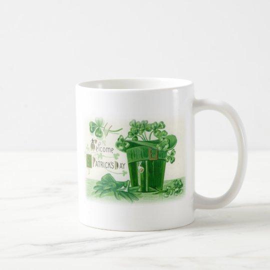 Vintage Shamrock Pipe Hat St Patrick's Day Card Coffee Mug