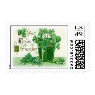 Vintage Shamrock Pipe Hat St Patrick's Day Card Stamp