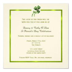 Vintage Shamrock St. Patrick's Day Invitation at Zazzle
