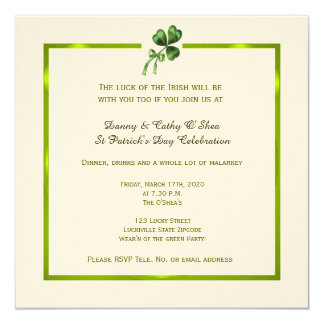Vintage Shamrock St. Patrick's Day Invitation