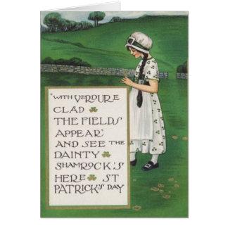Vintage Shamrocks Girl Field St Patrick's Day Card