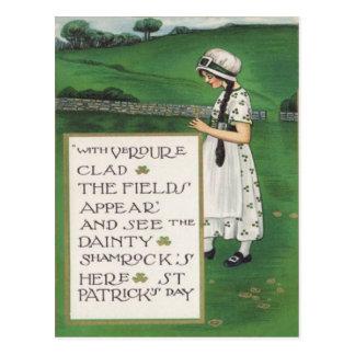 Vintage Shamrocks Girl Field St Patrick's Day Card Post Card