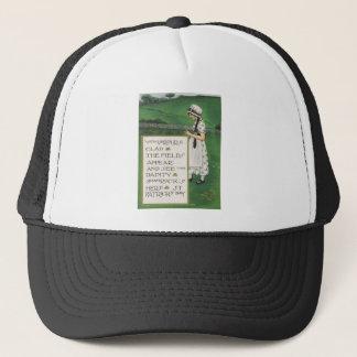 Vintage Shamrocks Girl Field St Patrick's Day Card Trucker Hat