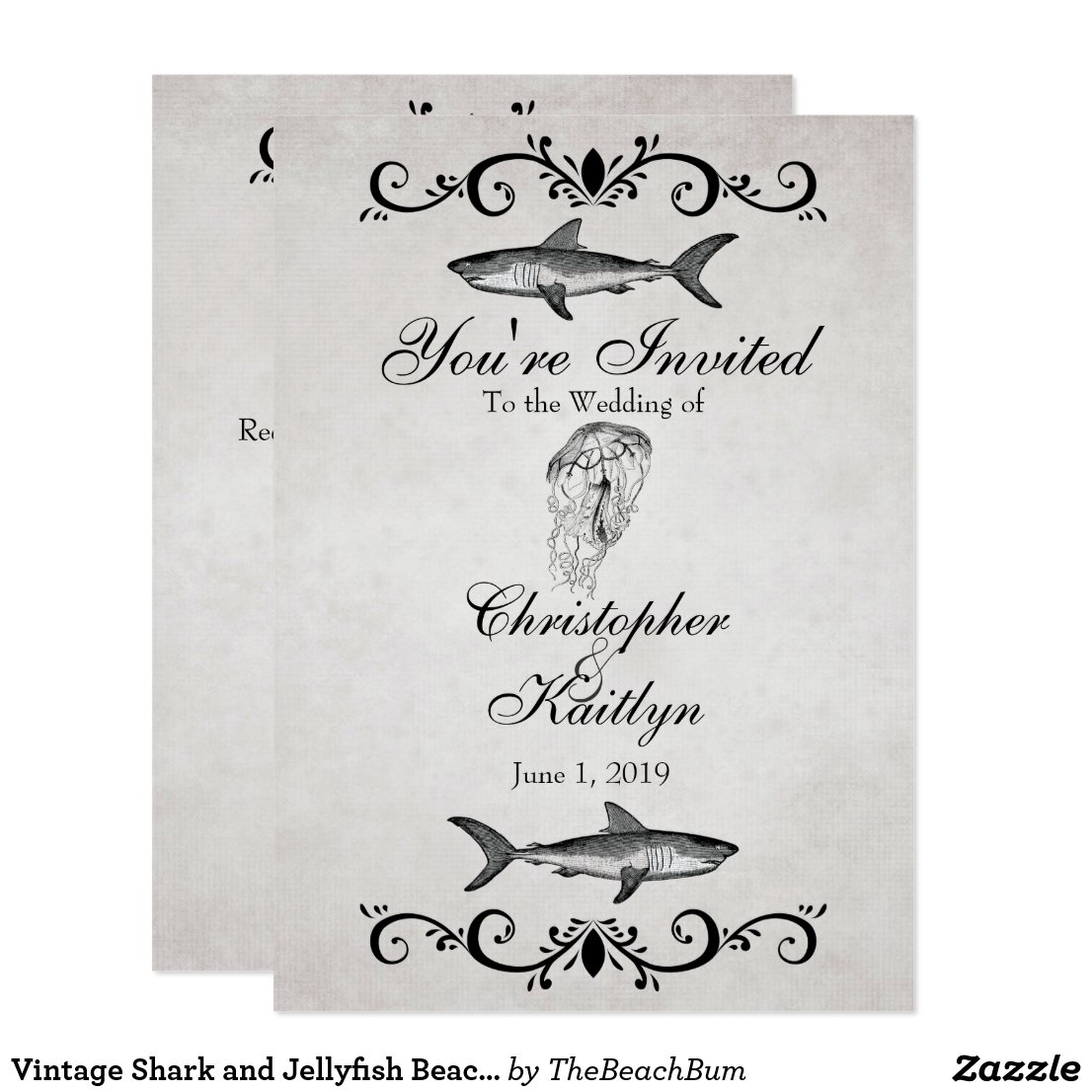 Vintage Shark and Jellyfish Beach Wedding Invite