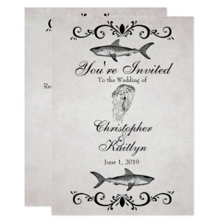 Vintage Shark and Jellyfish Beach Wedding Invite