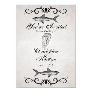 Beach Themed Vintage Shark and Jellyfish Beach Wedding Invite
