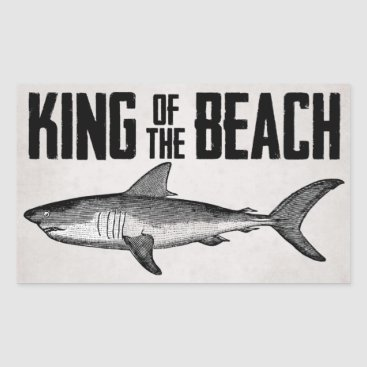 Beach Themed Vintage Shark Beach King Rectangular Sticker