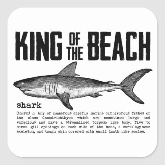 Vintage Shark Beach King Square Sticker