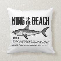 Vintage Shark Beach King Throw Pillow