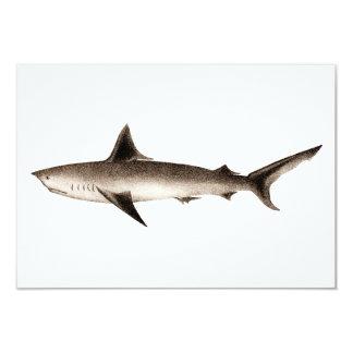 Vintage Shark Illustration - Retro Sharks Template 3.5x5 Paper Invitation Card