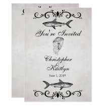 Vintage Shark ~ Jellyfish Wedding Reception Invite
