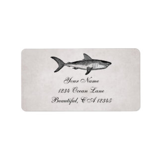 Vintage Shark Ocean Beach Address Label