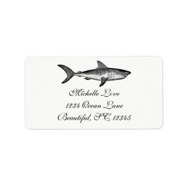 Beach Themed Vintage Shark Ocean Beach Black White Address Label