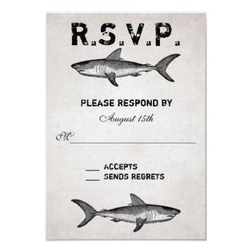 Beach Themed Vintage Shark ~ Ocean Beach Wedding RSVP Card