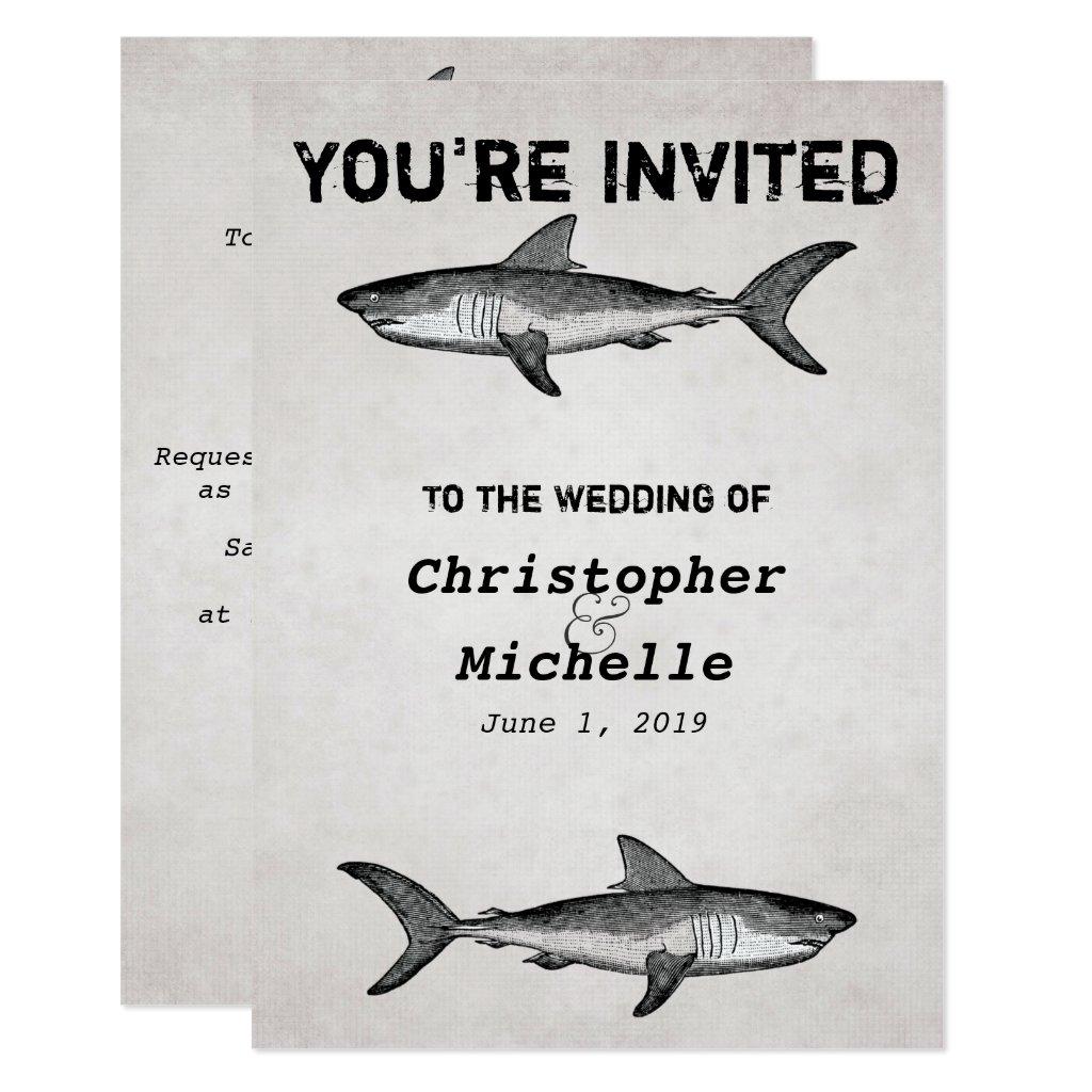 Vintage Shark Ocean Wedding Invitations