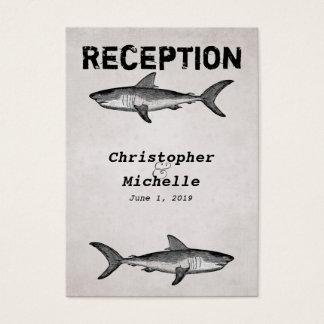 Vintage Shark Ocean Wedding Reception Card