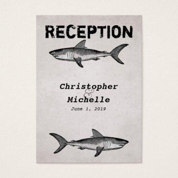 Beach Themed Vintage Shark Ocean Wedding Reception Card