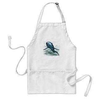 Vintage Shark Woodcut Adult Apron
