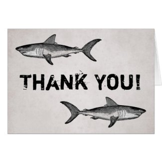 Vintage Sharks Thank You Card
