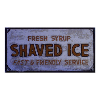 Vintage Shaved Ice Sign