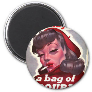 """Vintage """"She May Be a Bag of Trouble"""" 2 Inch Round Magnet"""