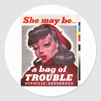 """Vintage """"She May Be a Bag of Trouble"""" Classic Round Sticker"""