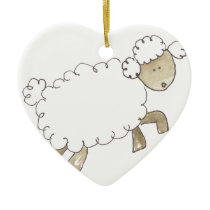 Vintage Sheep by Serena Bowman funny farm animals Ceramic Ornament