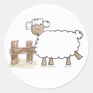 Vintage Sheep by Serena Bowman funny farm animals Classic Round Sticker