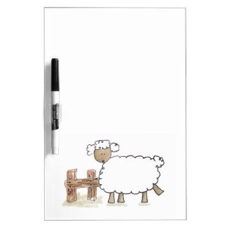 Vintage Sheep by Serena Bowman funny farm animals Dry Erase Board