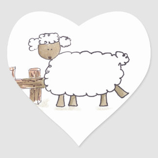 Vintage Sheep by Serena Bowman funny farm animals Heart Sticker