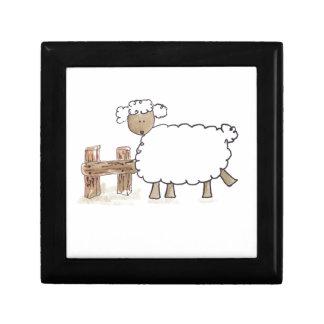 Vintage Sheep by Serena Bowman funny farm animals Jewelry Box